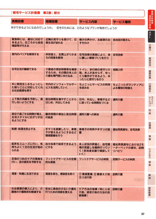 ケアプラン文例集